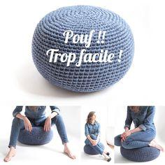 DIY pouf au crochet by hooklook Pouf En Crochet, Crochet Diy, Crochet Hats, Crochet Tutorial, Crochet Ideas, Yarn Bombing, Crochet Stitches, Crochet Patterns, Diy Pouf
