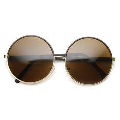 Womens Designer Inspired Super Round Oversize Two Tone Sunglasses 9408   zeroUV