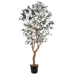 Nearly Natural 5-foot Dogwood Silk Tree (215 CAD) ❤ liked on Polyvore featuring home, home decor, floral decor, silk dogwood tree, nearly natural, artificial dogwood tree, black flower pots and black trunk