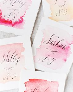 Watercolor escort cards! You can do something similar for invitations and stationary too.