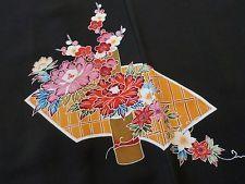 Japanese Vintage Kimono, HAORI, SILK, Black, UME&Flower, Good condition,P012530