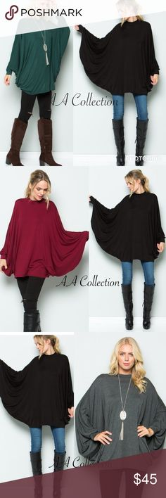 Long dolman sleeves drape Poncho top tunic dress Long dolman sleeves drape Poncho top, tunic dress. Great stretchy. Super comfy. Mock Cowl neck. 95%Rayon +5%Spandex.  pair with leggings, jeans and boots  Tops Tunics