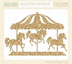 Gold Glitter Carousel Clip Art Set Personal by RaccoonGirlDesign