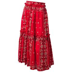 50s Red Paisley Print Western Skirt | From a collection of rare vintage skirts at https://www.1stdibs.com/fashion/clothing/skirts/