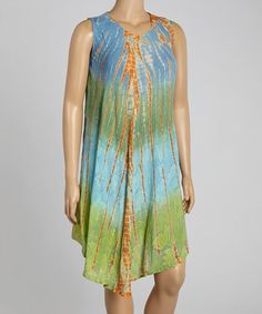 Love this Beige & Blue Tie-Dye Sleeveless Dress - Plus on #zulily! #zulilyfinds