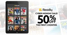 Happy Cyber Monday! Grab Readly for 50% off 3 months! #deals #shopping