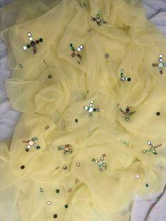 Single diamond chiffon Foil mirror hand work saree with blouse