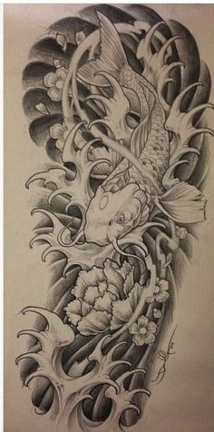 Tattoo sleeve koi fish art 59 ideas for 2019 Japanese Tattoo Art, Japanese Tattoo Designs, Japanese Sleeve Tattoos, Koi Tattoo Sleeve, Bild Tattoos, Neue Tattoos, Body Art Tattoos, Tattoo Crane, Samourai Tattoo