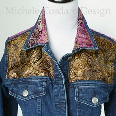 Upcycled Denim Jacket Purple Gold and Black by MicheleCordaroStyle
