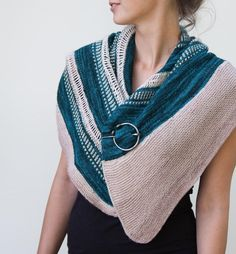 """This shawlette's unique shape and striping are inspired by the natural shape of a common sea shell in Germany, the """"Pfeffermuschel"""". Find this shawl pattern and more knitting inspiration at LoveKnitting.Com."""