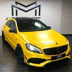 ⚡️ Yellow beast ⚡️ - - - - #mercedes #A45 #A45amg #AMG #lifestyle #wrap #covering Bmw M3 Sport, Mercedes A45 Amg, Mercedes A Class, G Wagon, Audi, Classic, Vehicles, Dan, Beast