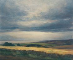 Oil painting of the landscape near Logie in Fife with St Andrews and North Sea in distance