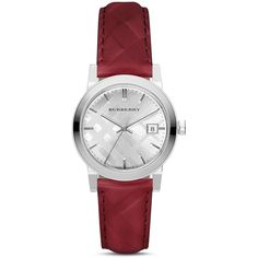 Burberry Check Leather Strap Watch, 34mm (650 CAD) ❤ liked on Polyvore featuring jewelry, watches, accessories, silver, polka dot jewelry, burberry jewelry, dot jewelry, stainless steel jewellery and burberry