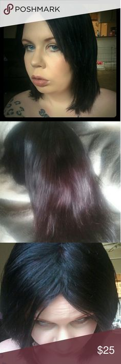 100% remy human hair wig. Black with burgundy tint human hair wig , 100% human hair dyed once but never worn. Breathable cap, clips and straps inside cap. Fits snug but has stretch. My head is 23 inches and it fits me perfect.  This hair cost me 75$ and is very soft and beautiful . Please buy with confidence I can not do refunds on human hair wigs. Black with burgundy tint see pics. All my wigs are new condition some worn once some never worn. Other