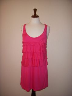BANANA REPUBLIC Fuchsia Pink Layered Jersey Short Tank DRESS MEDIUM #BananaRepublic #Sheath #Casual