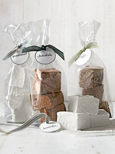 Gourmet Marshmallows - with peppermint, chocolate, lavender, and coffee flavor variations - http://www.countryliving.com/recipefinder/gourmet-marshmallows-recipe-clv1212
