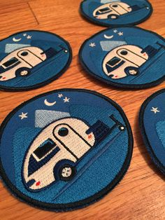 Under the Stars Is there a better place to be? This is a wearable adventure patch/badge for tiny trailer lovers! Add one to your jacket, hat or add some flair to your favorite camping jeans.  • 3 wide • Embroidered NON-iron patch • Blues with black and white, a night scene for any Tab Trailer fan • My original design inspired by my own Tab Trailer • With love from California