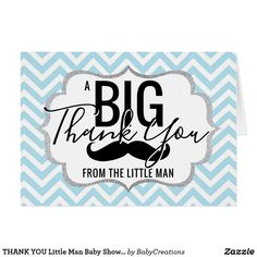 THANK YOU Little Man Baby Shower Blue | PHOTO