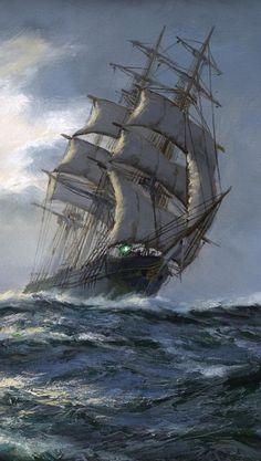 """A Cloudy Day"""" Montague Dawson ...."""