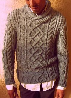 Danny B Aran Pullover - classic pattern with shawl collar - by J Cazley