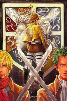 Luffy, Sanji, Zoro, The Monster Trio, Attack on Titan, crossover, cool, Scout Regiment, Shanks, crest, emblem, uniforms; One Piece