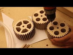 Making Gears for the Lifting Mechanism Prologue Musical Marble Machine Wooden Gear Clock, Wooden Gears, Wood Clocks, Table Saw, A Table, Gear Template, Marble Machine, Fun Projects For Kids, Simple Machines