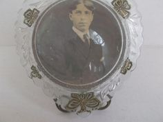 Antique Heart shaped Glass Frame with attached Brass Wire Stand and Photo Circa 1910 Clovers Bug Art Nouveau