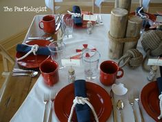 nautical party : loving the table set up with the rope around the napkins. loveee