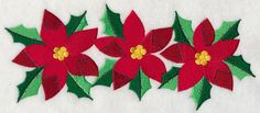 Patchwork Poinsettias design (H8036) from www.Emblibrary.com