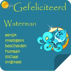 Sterrenbeeld Waterman: eerlijk, intelligent, bescheiden, humaan, sociaal en origineel
