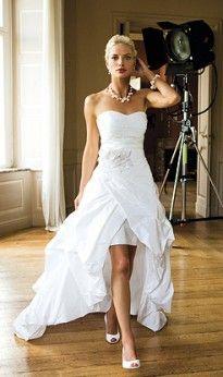 White chiffon beach wedding dress/tea length short wedding dresses ...