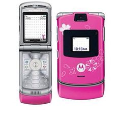Mobile Phone: T-Mobile ~ Motorola = Magenta with Blossoms V3 RAZR Flip Phone - 2006