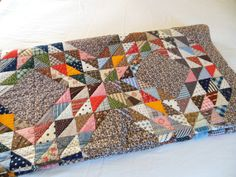 Vintage Full Quilt Patchwork Full Queen CoMpLETELY HaND StITCHED Diamonds Triangles  from The Back Part of the Basement on Etsy, $195.00