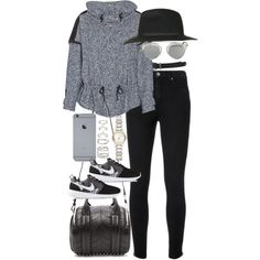 inspired outfit for a casual day by whathayleywore on Polyvore featuring Chloé, Yves Saint Laurent, NIKE, Alexander Wang, Burberry, Forever 21, Topshop and Christian Dior