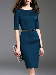 AdoreWe - Fashionmia Round Neck Belt Plain Half Sleeve Bodycon Dress - AdoreWe.com