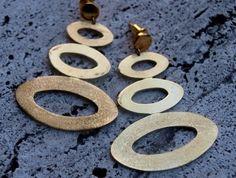 Brass earrings with ovals! Www.lemetissage.it