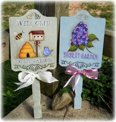 E PATTERN - Garden Signs - All 4 Designs in one Packet - Flowers, Bunny, Welcome - New designs from Terrye French & Painted by me,Sharon B.
