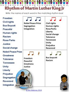Martin Luther King Jr   #RHYTHM sheet.   Great for Grades 1- 3 to reinforce their understanding of rhythm!!    #musiceducation   #musedchat