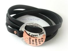 Triple Wrap Leather Bracelet Hand Stamped by CountryMomDesigns, $40.00