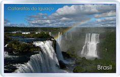 $3.29 - Acrylic Fridge Magnet: Brazil. Iguazu Falls. Rainbow