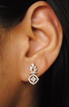 Small Diamond Halo Earrings. 0.46 Ct Princess cut by AbhikaJewels