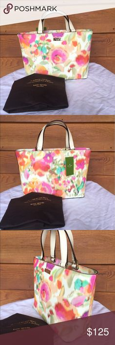 ♠️Kate Spade♠️Grant Street Grainy Vinyl Juno ♠️Kate Spade♠️Grant Street Grainy Vinyl Juno  New with tag.Made of grainy vinyl.Magnetic Snap closure.Interior 2 slip pockets.1 zip Pocket.Fabric lining.Juno tote beautifully combines art and fashion.Even with its faded water color prints,the tote never ceases to make a statement It's gold hardware acts as an luxurious accent to the purse while the tote functions perfectly for storing your every needs.Cames from a smoke free and pet free home…