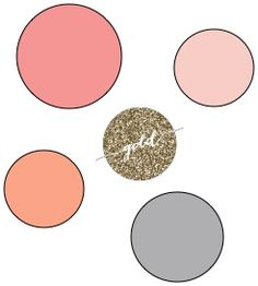 Coral, peach, blush pink, smoke, and glittery gold. color scheme minus the smoke