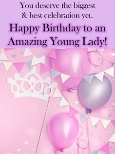 A background fit for a queen includes balloons, streamers and even a crown. And it's all there to celebrate one very amazing young lady on her birthday!This darling pink and purple card is perfect for little girls of all ages. And as she blows out the candles and makes a wish, she'll know how special she is, a feeling sure to last throughout the year. And no matter how near or far you are, it's never been easier to make her face light up. Happy Birthday Sister Messages, Girl Birthday Cards, Happy 2nd Birthday, Sister Birthday, Birthday Greeting Cards, Birthday Greetings, Message For Sister, Birthday Reminder, Purple Cards