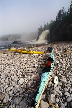 Pukaskwa National Park Photograph by Layne Kennedy, Corbis Kayaks sit on the shore near Cascade Falls in Ontario's Pukaskwa National Park. The park is home to the Coastal Hiking Trail, one of Canada's most renowned and scenic hiking routes. Kayak Camping, Canoe And Kayak, Sea Kayak, Kayak Fishing, Kayaks, Parcs Canada, Cascade Falls, Hiking Routes, Hiking Trails