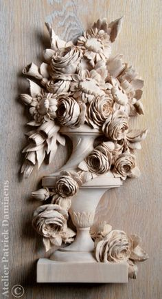 Bespoke wood carving | Custom made wood carving | High end architectural wood carving | carving a vase in wood | Aubert Parent style carving