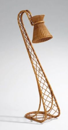 Wicker and Bamboo 'Cobra' Floor Lamp, Bamboo Table, Bamboo Basket, Bamboo Furniture, Art Deco Furniture, Bamboo Light, Bamboo Lamps, Rattan Lamp, Bamboo Art, Bamboo Structure