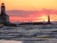 Chicago Skyline sunset (Lynette Johnston) This sunset from Michigan City, Indiana shows the Chicago skyline 36 miles across Lake Michigan.
