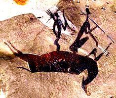 """Pinturas Prehistóricas: 1. Dibujo de la """"Escena de caza"""" en la Cueva de los caballos de La Valltorta. 2. Pintura africana. 3. Pintura en cueva de Sudafrica"""