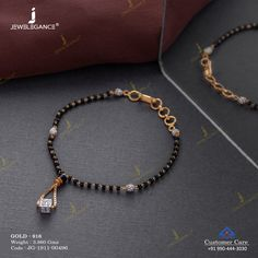 Astounded yourself with this mangalsutra bracelet. Mangalsutra Bracelet, Gold Mangalsutra, Gold Bangles Design, Gold Jewellery Design, Antique Jewellery, Jewelry Design Earrings, Beaded Jewelry, Diamond Jewelry, Gold Bracelet For Women